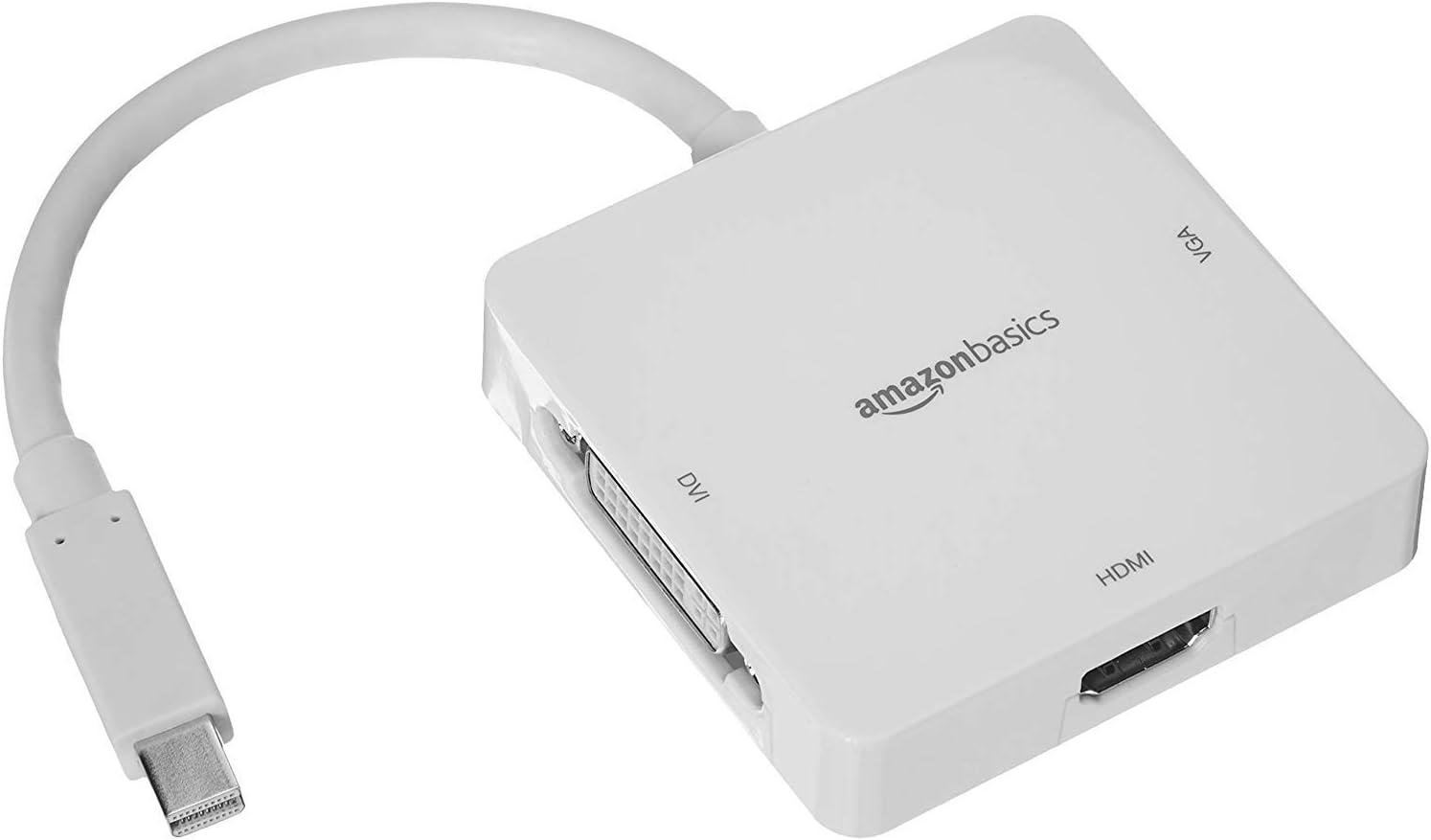 AmazonBasics - Adaptador de Mini DisplayPort a HDMI/DVI/VGA - Blanco