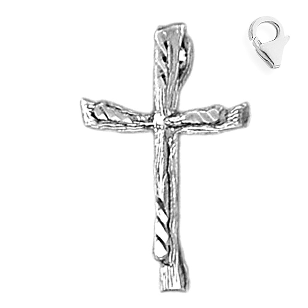 Jewels Obsession Cross Pendant Sterling Silver 26mm Cross with 7.5 Charm Bracelet