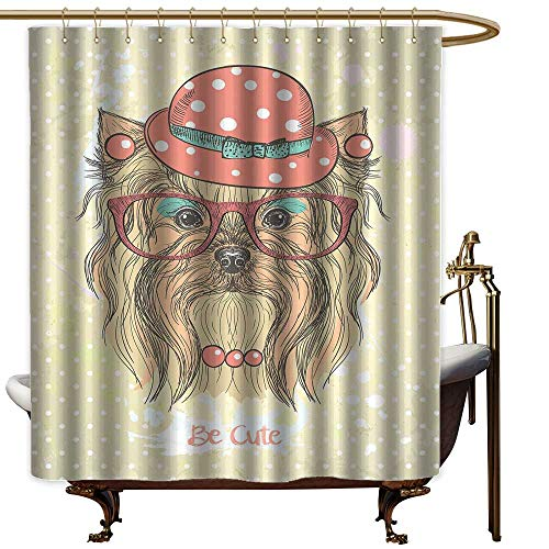 aotuma Waterproof Fabric Shower Curtain Yorkie,Be Cute Portrait of an Adorable Dog with Earrings Necklace Glasses Hat Makeup,Light Brown Coral,Washable, Odorless, Eco-Friendly,for Bathroom 72