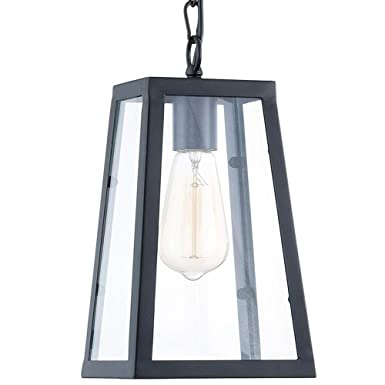 Lampundit Industrial 1-Light Pendant, Matte Black Finish with Clear Glass Panels, Modern Square Lantern Mini Hanging Pendant Lighting Fixture for Kitchen Island, Restaurants, Hotels and Shops