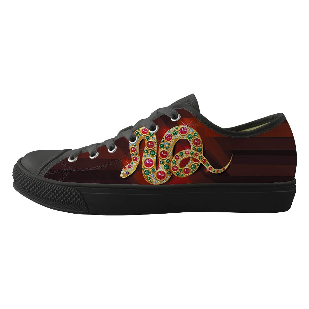Classic Sneakers Unisex Adults Low-Top Trainers Skate Shoes Bling Tribe Mysterious Gold Gem Snake