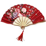 Red Cherry Blossom Chinese Folding Hand Fan Wedding Gifts For Guests