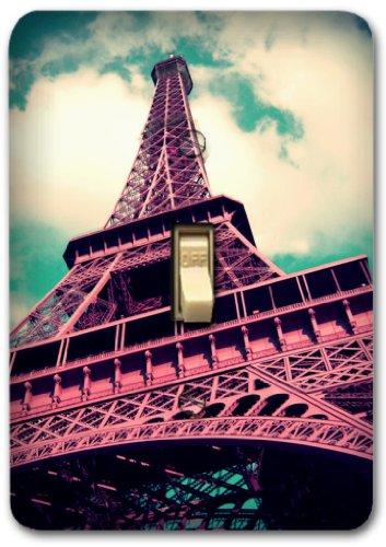 (Retro Pink Paris Eiffel Tower Metal Light Switch Plate Cover Single Home Decor 374)