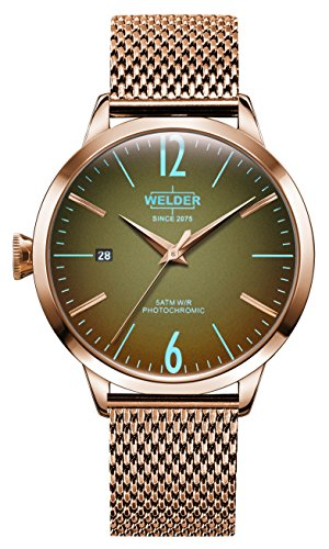 Welder Moody Stainless Steel Mesh 3 Hand Rose Gold-Tone Watch with Date 38mm