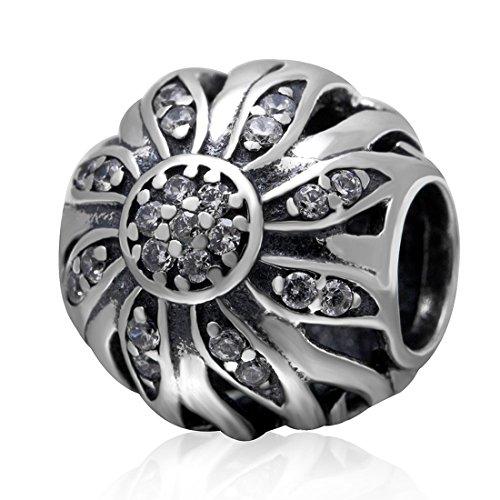 925 Sterling Silver Sunflower Charm Sun Flower Charm Birthday Charm Anniversary Charm Love Charm for Pandora Charms Bracelet ()