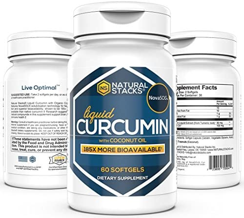Natural Stacks Curcumin w Coconut Oil 60 ct. – Highly Bioavailable NovaSOL Form – Lower Inflammation and Reduce Joint Pain – Tumeric Root Extract