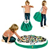 Swoop Bags Original Toy Storage Bag + Play mat, Emerald Green - Ideal for organizing and Cleaning up Lego Pieces!