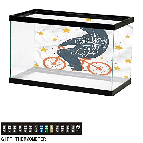 (bybyhome Fish Tank Backdrop Bicycle,Cycling is Life Quote Bear,Aquarium Background,24