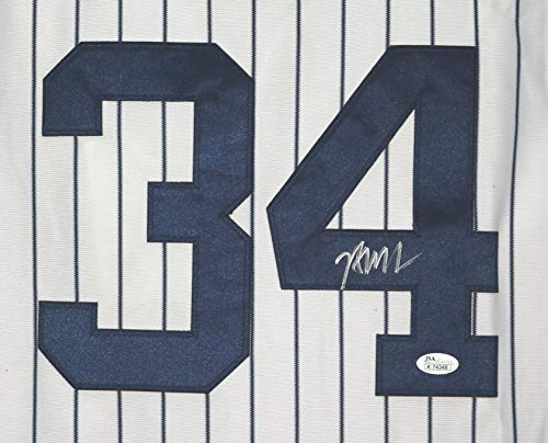 (Brian McCann New York Yankees Signed Autographed White Pinstripe #34 Jersey JSA COA)