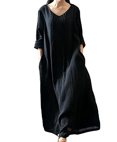 NiSeng Donna Vestito Maxi Etnico Tribale Maniche Lunghe Casual Elegante Cotone Cocktail Maxi Vestito