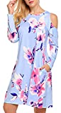LuckyMore Women's Floral Print Cold Shoulder Casual Swing Tunic Dress with Pockets (XXL, 03 Light Blue)
