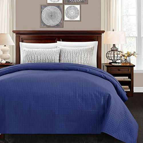 ALPHA HOME Quilted Bed Quilt Bedspread Coverlet Bed Cover Light Weight Luxury Checkered Pattern - Blue, Queen