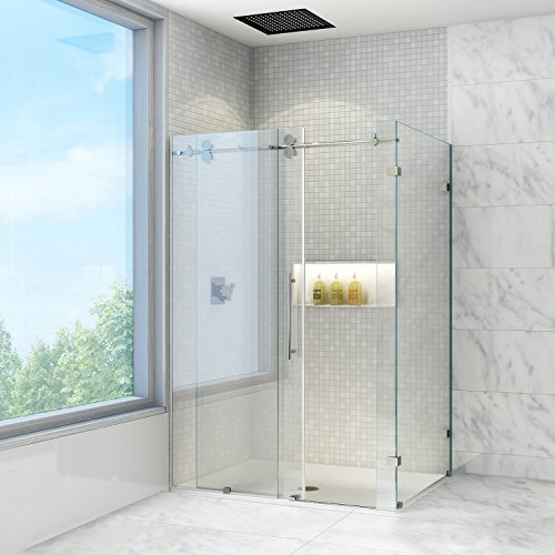 Frameless Shower Enclosures (VIGO Winslow 36 x 48-in. Frameless Sliding Shower Enclosure with .375-in. Clear Glass and Stainless Steel Hardware)