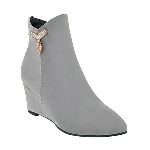 Heheja Mujer Forrado Zapatos Invierno Ocio Botines Moda Cómodo Cálido Botas Gris Asia 43 (26.5