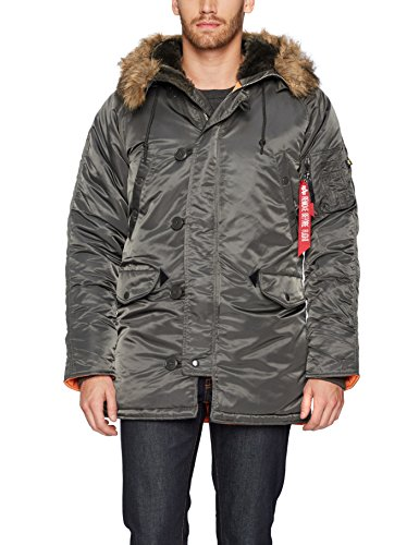 - Alpha Industries Men's N-3B Slim-Fit Parka Jacket with Removable Faux-Fur Hood Trim, Replica Gray/Orange, Large