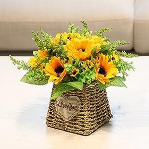 Emulation flower artificial flowers sunflower roses RATTAN VASE boutonniere blue packaged romantic garden 25 × 20 cm Floral Arts 89