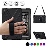 All-New Fire HD 8(2017 Released, 7th Generation Only) BRAECN Three Layer Armor Defender Full Body Protective Case Cover/Hand strap+shoulder strap For Amazon Kindle Fire HD8 (Black)