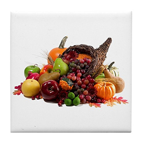 Tile Coaster (Set 4) Thanksgiving Turkey Cornucopia ()