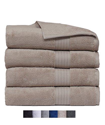 Casa Platino Quick Dry Super Zero Twist 4 Pack Large Bath Towel Set 28x54 7 Star Hotel Luxury Collection - 100% Pure Super Zero Twist Cotton (linen) by Casa Platino