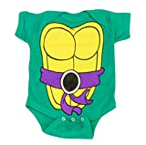 Teenage Mutant Ninja Turtles Green Donatello Costume Infant Baby Onesie Romper (Purple Belt) (12 Months)