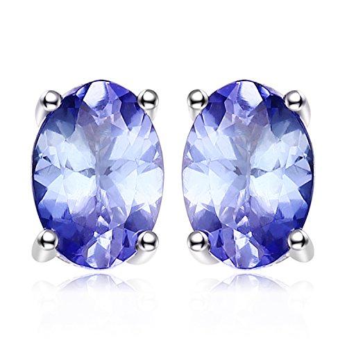 - JewelryPalace 925 Sterling Silver 1ct Natural Tanzanite Stud Earrings