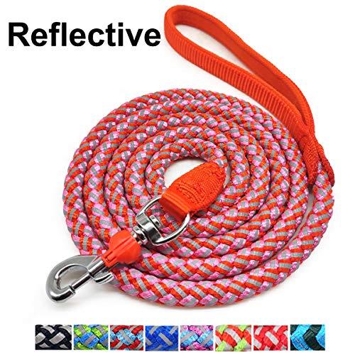 Mycicy Rope Dog Leash – 6 Foot Reflective Dog Leash – Mountain Climbing Nylon Braided Heavy Duty Dog Training Leash for Large and Medium Dogs Walking Leads (6ft 1/2″, Orange/Pink)