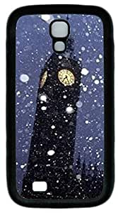 Black Soft Rubber Case Cover For Samsung Galaxy S4 I9500 TPU Back Phone Case Single Shell Skin For Samsung Galaxy S4 I9500 With Snow Bell