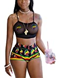 Womens Casual Two Pieces Lace Print Outfits Strap Crop Top Backless Crossover Shirts + Pants Shorts Bandage Club Dress Black S
