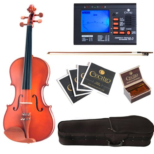 Cecilio CVA-400 14-Inch Solid Wood Flamed Viola with Chromatic Tuner by Cecilio
