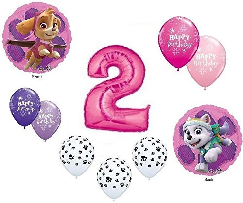 - GIRL'S PAW PATROL Dog 2nd #2 Pink 10 Piece Birthday Party Mylar Latex Balloons Set...Plus (1) 66' Roll of Curling Balloon Ribbon