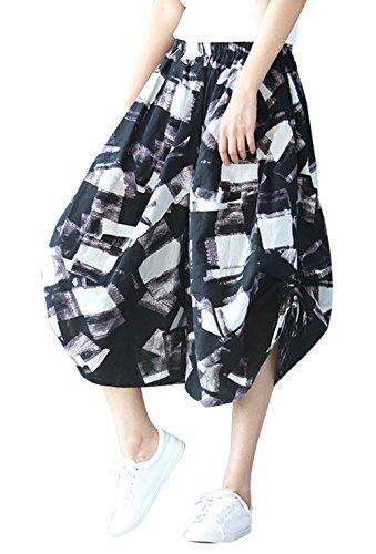 軍団そのウミウシ[FEOYA] サルエルパンツ レデイーズ アラジンパンツ 夏 スカーチョ 綿麻 大きいサイズ ゆったり 花柄 リラックスパンツ 民族衣装