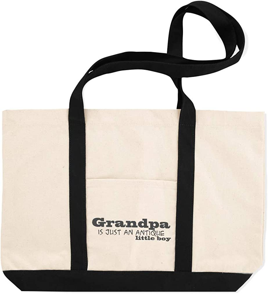 Canvas Shopping Tote Bag Grandpa Is Just An Antique Little Boy States Worlds Coolest Grandpa