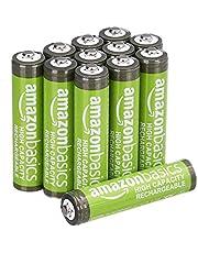 Amazon Basics Pacote com 12 pilhas recarregáveis AAA de alta capacidade de 850 mAh, pré-carregadas, podem ser recarregadas centenas de vezes