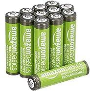 Amazon Basics Pacote com 12 pilhas recarregáveis AAA de alta capacidade de 850 mAh, pré-carregadas, podem ser