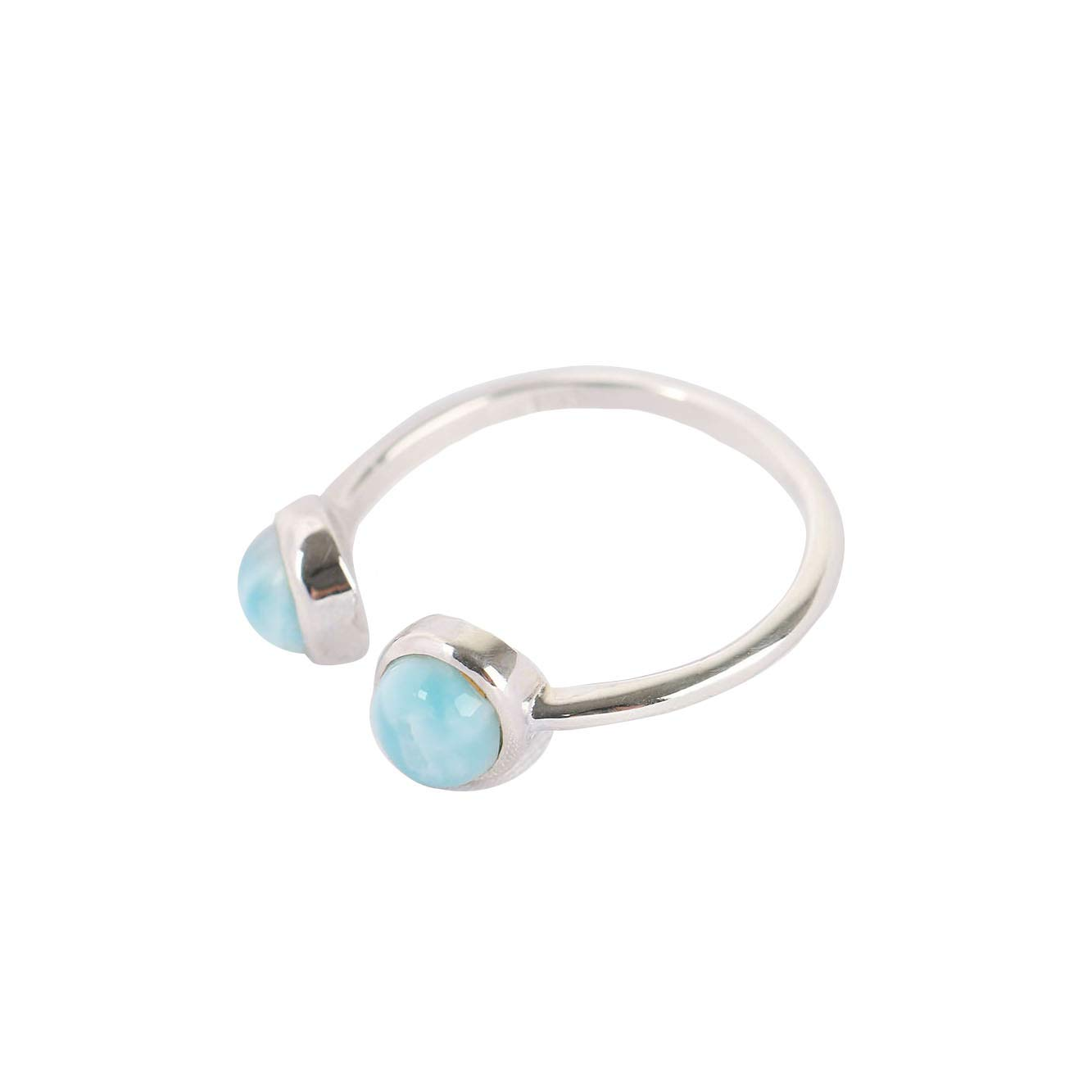 Tuoke Chic Open Ring 925 Sterling Silver Larimar Jewelry Adjustable Fashion Blue Stone Ring for Women and Girls, Design Home Casual Wear