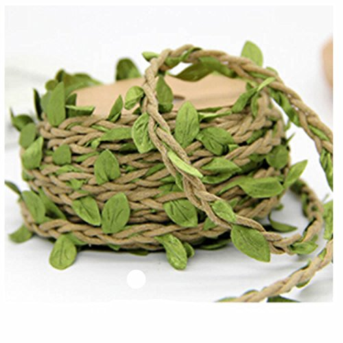 GOOTRADES Natural Jute Twine, Green Leaves Leaf Trim Ribbon for Wreath DIY Craft Party Wedding Home Decoration,10m /32' (Light ()