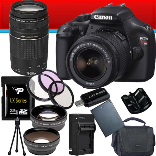 UPC 662425822706, Canon EOS Rebel T3 12.2 MP CMOS Digital SLR with 18-55mm IS II Lens (Black) + Canon EF 75-300mm f/4-5.6 III Telephoto Zoom Lens + 58mm 2x Telephoto lens + 58mm Wide Angle Lens (4 Lens Kit!!!) W/32GB SDHC Memory + Extra LPE10 Battery/Charger + 3 Piece Filter Kit + Full Size Tripod + Accessory Kit