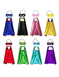 KOMODOMO Double-Sided Statin Heros Dress Up Costumes Children Capes with Felt Masks Set of 8