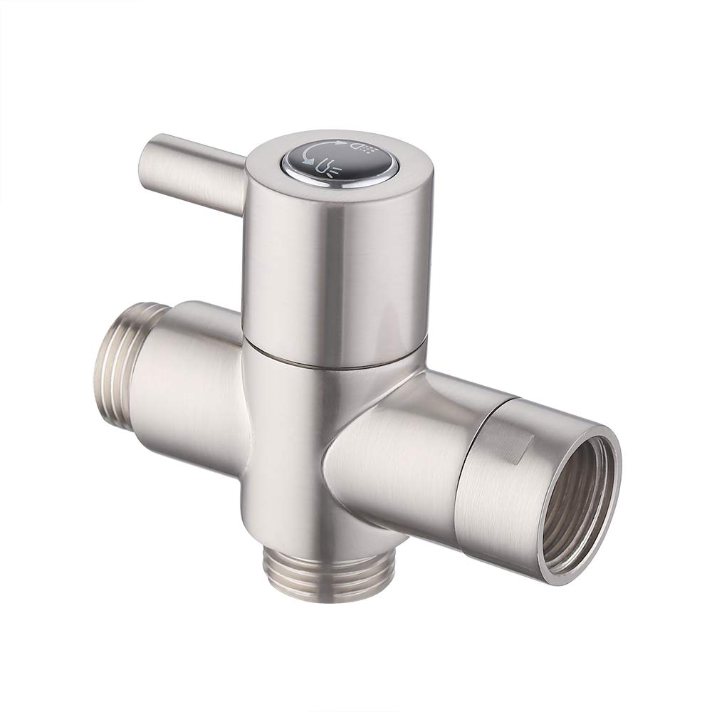 KES BRASS Shower Arm Diverter Valve Bathroom Universal Shower System Component Replacement Part for Hand Held Showerhead and Fixed Spray Head, Brushed Nickel, PV4-2 by KES