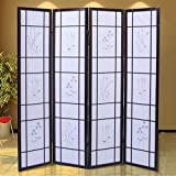 GHP Hand Made Cherry Flowered 4 Panels Folding Wicker Room Divider