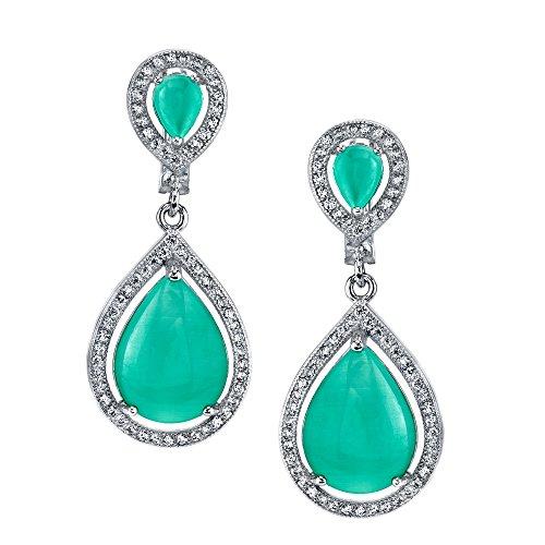 Sterling Silver Cats Eye Tear Drop Green CZ Bridal Earrings Brides Maid Present