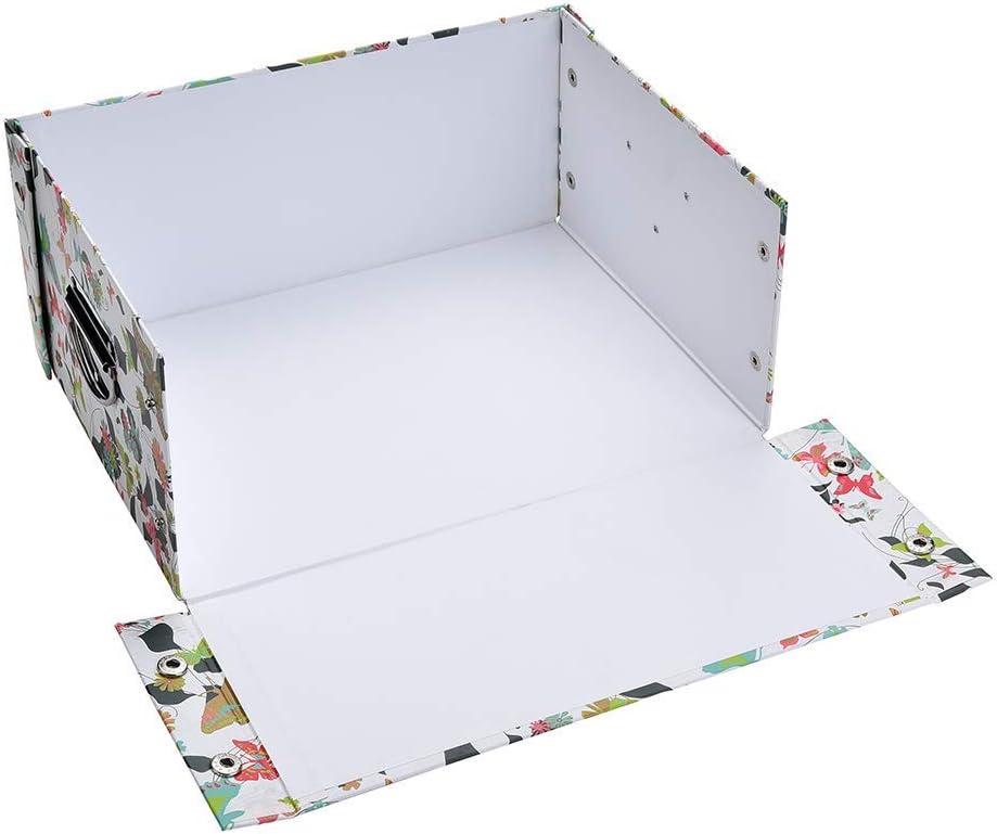 Papillon Guozi D/écoratif Bo/îte de Rangement en Carton avec Couvercle Bo/îte de Stockage de Fichiers Pliable 34 x 24.5 x 14.5cm