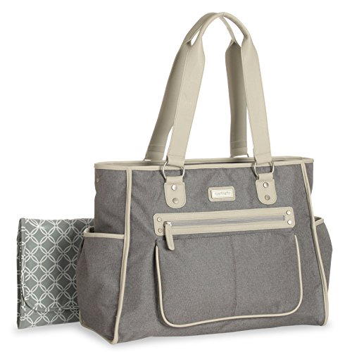 Carter's Essence Flannel Diaper 12-Pocket Tote Bag in Grey