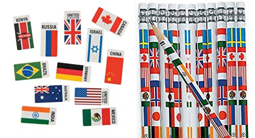(HAPPY DEALS ~ Set of 48 Pc ~ Multicultural Flag Pencils (24) and Flags of The World erasers (24) ~ Around The World Passport and Travel Favors )