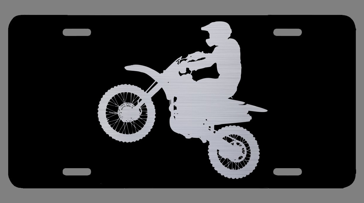 12-Inch by 6-Inch Premium Quality LP025 OGO Vincit Veritas Dirt Bike Motocross Supercross Accessories Black Etched License Plate