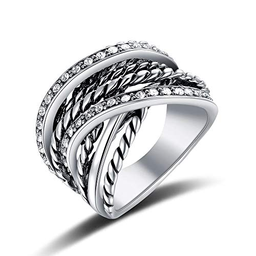 Mytys Vintage Silver Interwined Wide Band Ring CZ Pave Rings for Women Men Size 7