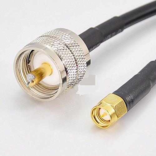 SMA Male Plug to UHF Male Plug RG58 Coaxial Coax Cable 300cm (3Meter) - Sma Male Cable Plug