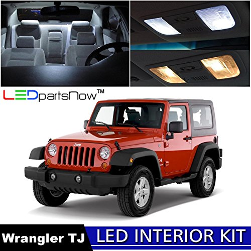 Jeep Wrangler TJ White Interior LED Light Bulbs Kit with Installation Pry Tool