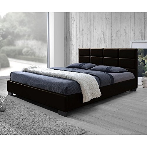 Baxton Studio Vivaldi Modern and Contemporary Dark Brown Faux Leather Padded Platform Base Queen Size Bed Frame