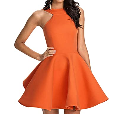 6327e4d0ad1 Amazon.com  Women s Sexy Casual Halter Neck Backless Cocktail Prom Party  Club Mini Dresses (Large